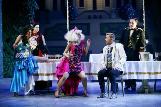 """You're gorgeous!"" Left to right- Jo Freer (Camille), Jayne McKenna (Monique La Mort), Nicola Roy (Colette), Martin McCormick (Prince Pierre) and Grant O' Rourke (Bumble). Photo- Eamonn McGoldrick"
