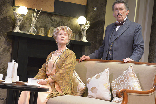 Liza Goddard (Miss Caroline Amory) and Robert Powell (Hercule Poirot) in Black Coffee. Photo © Keith Pattison