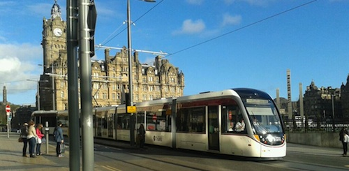A tram testing on Princes Street. Photo © Marion Donohoe