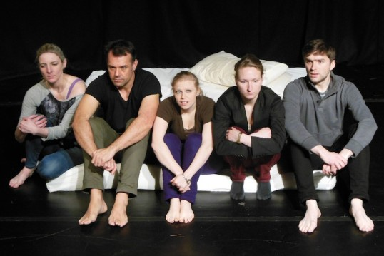 Miriam Sarah Doren, Mark Jeary, Beth Kovarik, Camille Marmie and Ben Clifford in Blackout from New Room Theatre Photo © Belle Jones