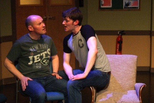 Alan Richardson (Eddie) and Calum Barbour (Campbell) in Leitheatre's 2014 production of Takin Over The Asylum by Donna Franceschild. Photo © Marion Donohoe