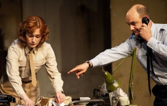Laura Rogers as Kay Summersby and David Haig as Group Captain Dr. James Stagg.  Photo © Drew Farrell
