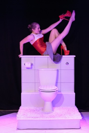Melanie Jordan put on a pedestal in Sanitise. Photo credit: Company
