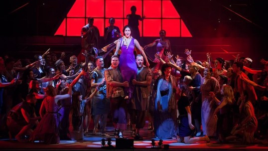 Mia Oudeh as Aida and the ensemble in Limelight's production of Aida - The Musical. Photo: Martin Quinn