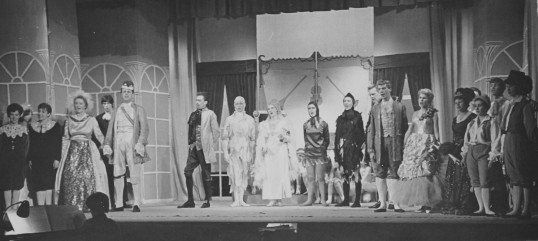 The principal performers in EPT's 1965 panto, The Enchanted Forest. Photo from EPT