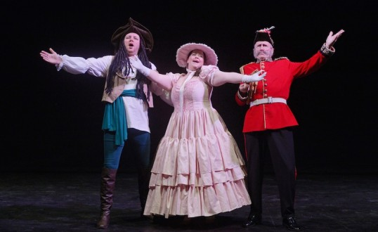 the Pirate King (Scott Thomson), Mabel (Gillian Robertson) and the Major General (Ian Lawson) in Edgas' Pirates of Penzance. Photo: Phil Wilkinson