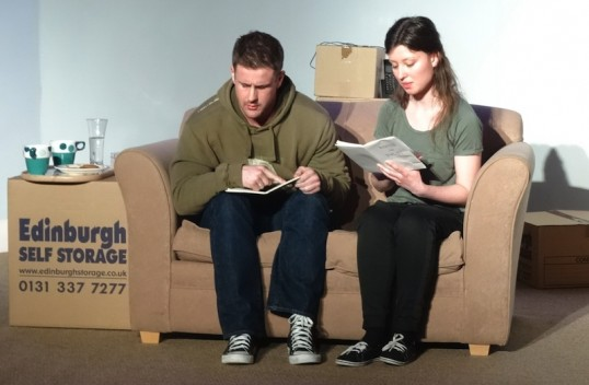 Callum McLennan and Bethany Laing in 22 Hardcastle Court. Photo: Saughtonhall Drama Group