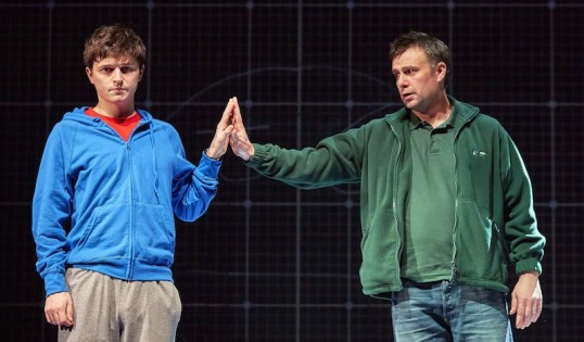 Joshua Jenkins (Christopher) and Stuart Laing (Ed) in The Curious Incident. Photo by Brinkhoff Agenberg