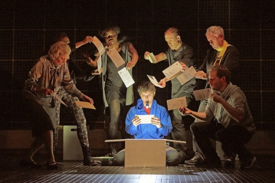 Joshua Jenkins (Christopher) and the cast of The Curious Incident. Photo: Brinkhoff Âgenberg