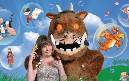 Julia Donaldson and her creations. Publicity image