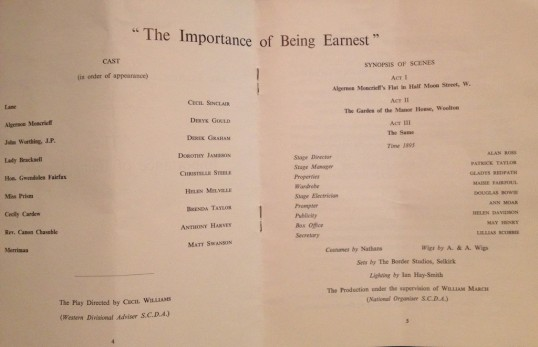 The cast and creatives listed in the original 1965 programme for The Importance of Being Earnest. Photo Thom Dibdin