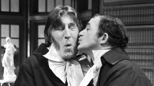 Paul Young gives Rikki Fulton a kiss on the cheek in the Perth Theatre Company production of A Wee Touch of Class at the Church Hill Theatre during Edinburgh Festival 1985. Photo © The Scotsman Publications Ltd