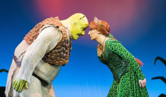 Dean Chisnall (Shrek) and Bronte Barbe (Princess Fiona). Photo Helen Maybanks