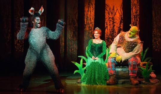 Idriss Kargbo (Donkey), Bronte Barbe (Princess Fiona) and Dean Chisnall (Shrek). Photo: Helen Maybanks