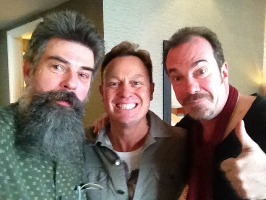 Selfie time: Æ's Thom Dibdin with Jason Donovan and Gavin Mitchell.