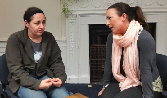 Wendy Brindle (Rick) and Cari Sivills (Marcie) in rehearsal. Photo The Grads