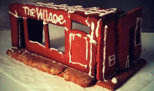 The Village pub ready for the VPT Office Xmas Party 2015. Gingerbread and image James Ley