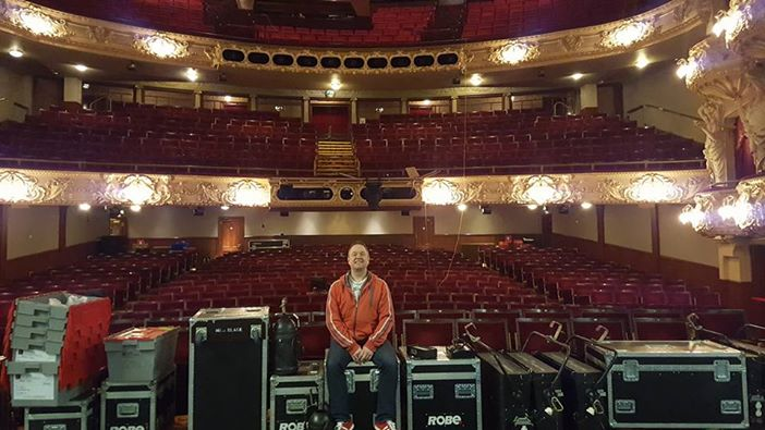 Andy Johnston on stage during the get-in. Photo Southern Light