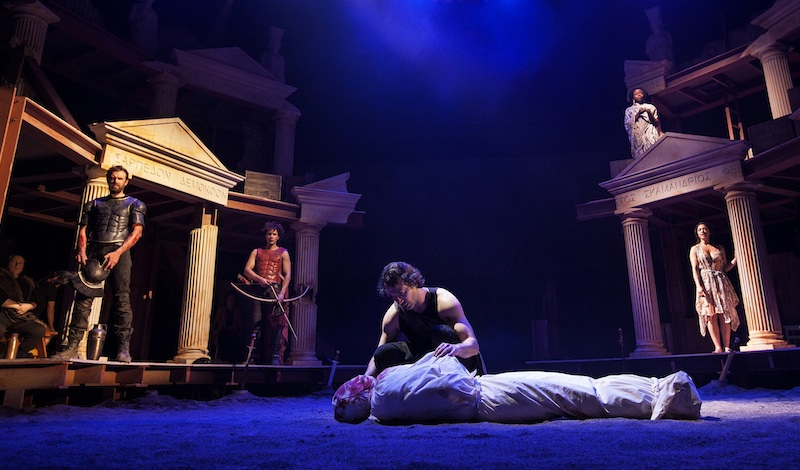 Ben Turner (front) as Achilles. With Ron Donachie (back), Ben Dilloway, Peter Bray, Emanuella Cole (above), Amiera Darwish. Photo: Drew Farrell